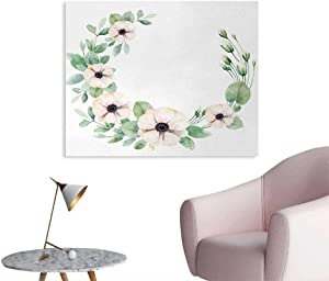 Unprecall Anemone Flower Poster Print Round Composition with Flourishing Fresh Bedding Plants and Stems Home Decor Wall Green Peach Black W32 xL24
