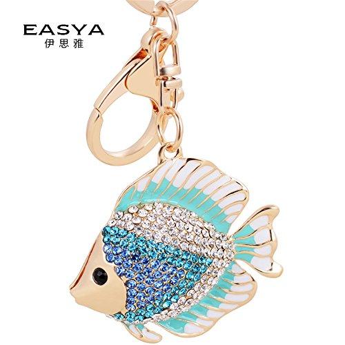 Kawaii Tropical Fish Rhinestone Automotive Key Chains Tassels keychain Or Women Bag Ornaments Pendant A birthday present Gift (Blue) (Tropical Fish Keychain)