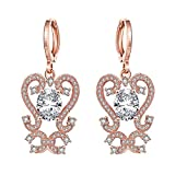 Gnzoe Fashion Jewelry 18K Rose Gold Plated Drop Earrings Hollow Alphabet S and C Crystal Eco Friendly