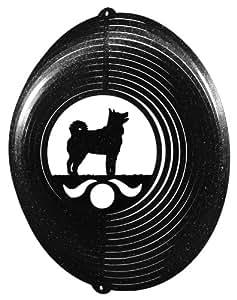 SWEN Products Perro pastor Islandés círculo Swirly Metal Wind Spinner