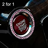 #6: 2Pcs Auto Crystal Rhinestone Decorative Ring For Key or Keyless Engine Start Stop Push Button Ignition Switch-Pink