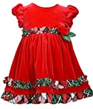 Bonnie Jean Girls Short Sleeve Red Velour Ruffle Dress