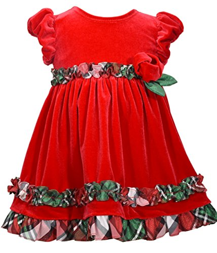 Bonnie Jean Girls Short Sleeve Red Velour Ruffle Dress (5)