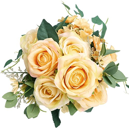 hampagne SOLEDI 11 Heads Artificial Flowers for Bridal Bouquet Wedding Living Room Table Home Garden Decoration (Champagne Roses)