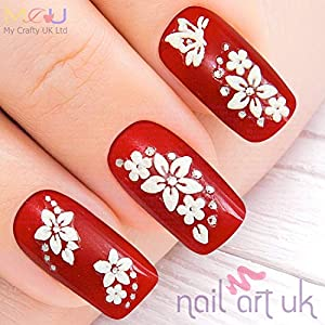 White Flower Rhinestone Flowers Nail Art Decal