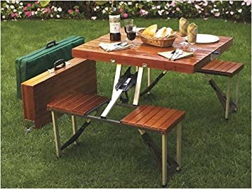 Good Tailgate Folding Wooden Picnic Table