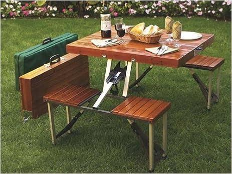Amazoncom Tailgate Folding Wooden Picnic Table Portable