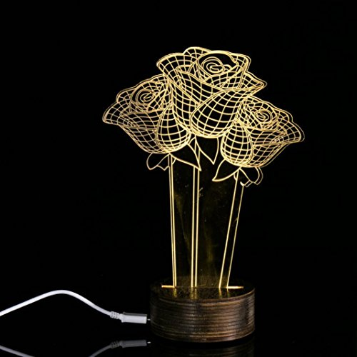 (HP95(TM) 3D Rose Lighting Effects Optical Illusion LED Lamp for Valentine's Day Birthday Gift)