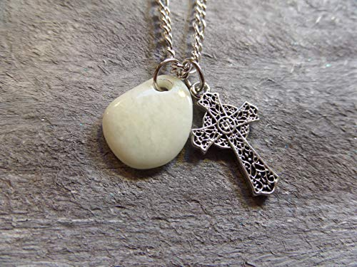 Celtic Cross Necklace with Scottish Iona Marble Stone
