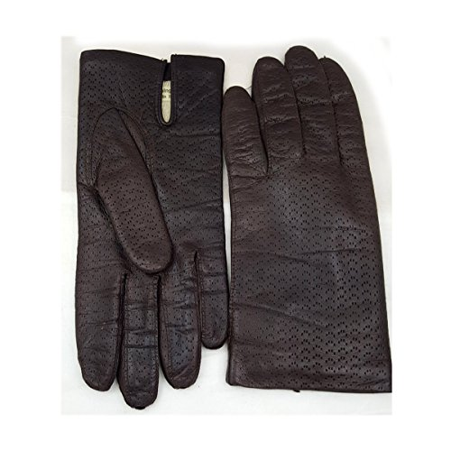 Vintage Made in Italy Womens Acrylic Lined Pinpoint Embossed Brown Leather Gloves Size 7