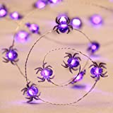 Impress Life Halloween Costume Party Spooky Spider String Lights, Purple 10ft 40 LEDs Battery Operated with Dimmable, Flicker Remote for Front Porch, Trick or Treat Welcome Decoration