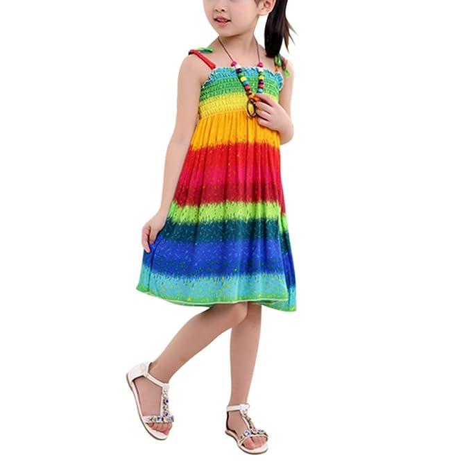 Minuya Vestido Niña, Verano Correas sin Mangas de Algodón/Estilo Bohemio Vestidos de Playa
