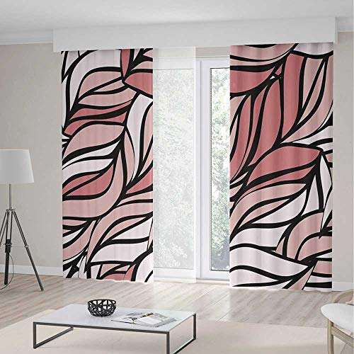 Twisted Pewter Rings - iPrint Blackout Curtains,Coral Decor,Curtains,Digital Curving Mix Twisted Forms with Tangled Lines Knotty Color Illustration Image,2 Panel Set,118