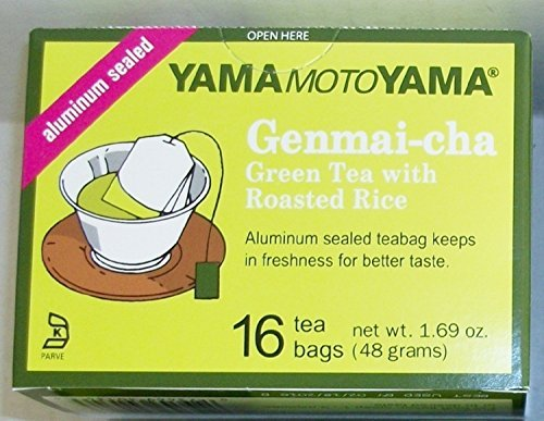 Yamamotoyama Genmai-cha Green Tea with Roasted Rice 16 Count Tea Bags Aluminum Sealed (3 Pack)
