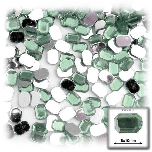 長方形の八角形クラフトアウトレット144アクリルアルミ箔フラットバックラインストーン、8by 10mm、ライトグリーンペリドットの商品画像