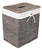 BirdRock Home Rustic Woven Wood Peel Laundry Hamper with Lid | Thin Weave