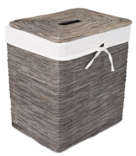BirdRock Home Rustic Woven Wood Peel Laundry Hamper with Lid | Thin Weave Laundry Basket | Removable Liner | Dirty Clothes Storage Bin | Grey