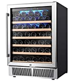 AMZCHEF 24' Wine Refrigerator, Wine Cooler Built-in or Freestanding 52 Bottle, Quiet, Constant Temperature, Energy Efficient