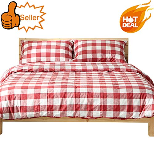 OTOB Reversible Red White Plaid Bedding Sets Twin Collections Soft Lightweight Geometric Gingham Checkered Grid Children Twin Duvet Cover Cotton with 2 Pillowcases Zipper Closure for Teens Girls Boys