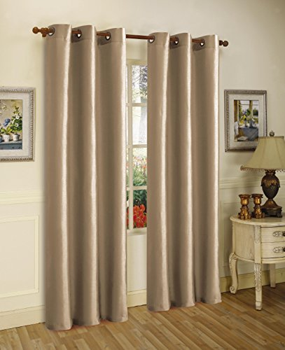 Gorgeous Home (#32) 1 PANEL SOLID PLAIN THERMAL FOAM LINED BLACKOUT HEAVY THICK WINDOW CURTAIN DRAPES SILVER GROMMETS (TAUPE TAN, 63