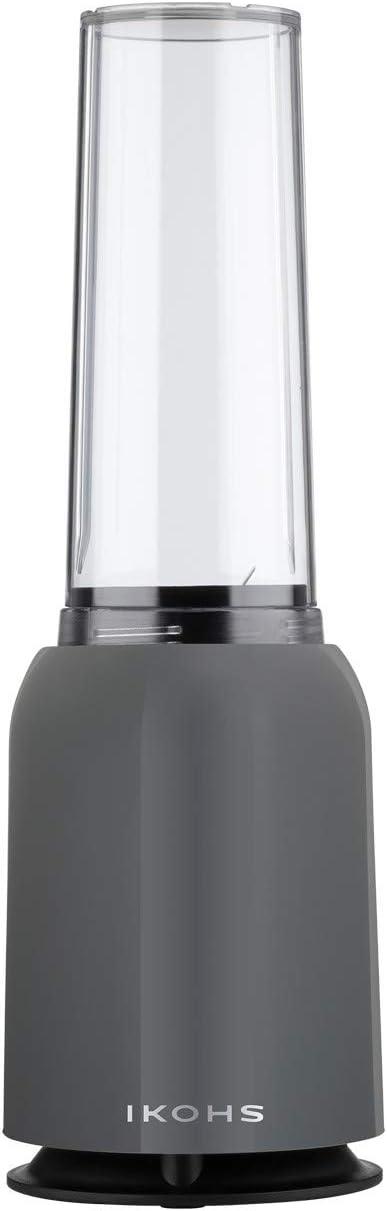 IKOHS Batidora de Vaso MOI - Batidora de Vaso Individual para Smoothies y Batidos, 230 W, Individual, Portátil, Cuchillas de Acero Inoxidable, 230W, Libre de BPA, Diseño Exclusivo, Color Gris: Amazon.es