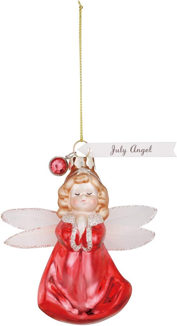 Demdaco July Angel Ruby Red 4 X 4 Glass Christmas Decorative Hanging Figurine Ornament Home Kitchen