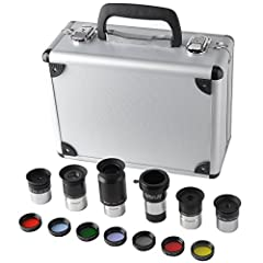 """1.25-Inch Telescope Accessory Kit (silver)- 5pcs Plossl Eyepiece Set, 7pcs Filter Set, 2x Barlow Lens - Astronomy The 1.25"""" Eyepiece and Filter Kit is a great starting kit for anyone getting their first instrument or for anyone looking for a ..."""