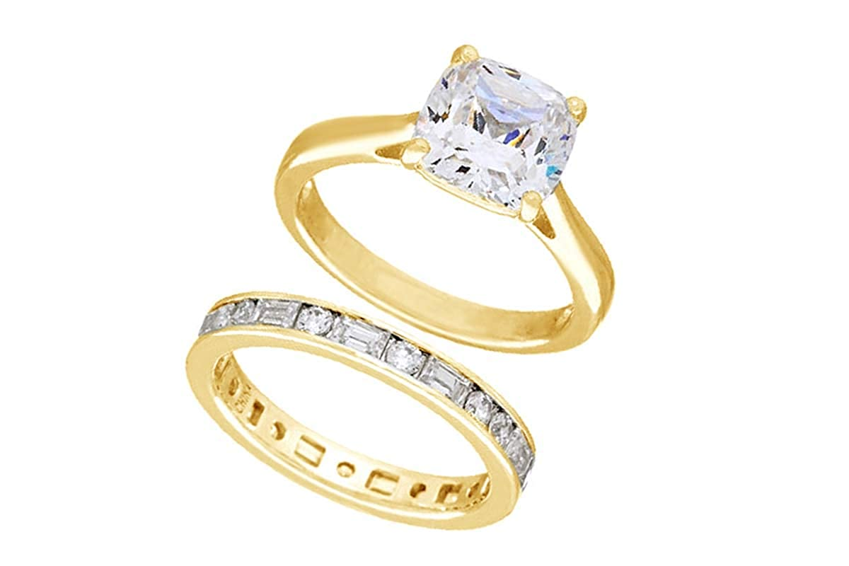 AFFY Weißszlig;e Zirkonia Verlobung Hochzeit Brautschmuck Ring-Set, 18 kt verGoldet, Sterling-Silber (4,3 cttw) 18K gelbverGoldetes Silber 47 (15.0)