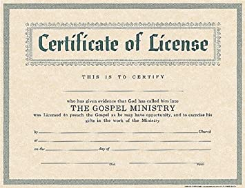 amazoncom certificate of license for minister holman ministers bible office products