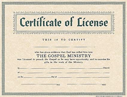 photograph relating to Free Printable Minister License Certificate known as Certification of License for Minister
