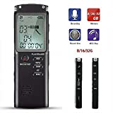 DINGYUFA Digital Voice Recorder Portable Dictaphone MP3 Player with 32GB RAM One-Click Recording Clock Support Loop Playback