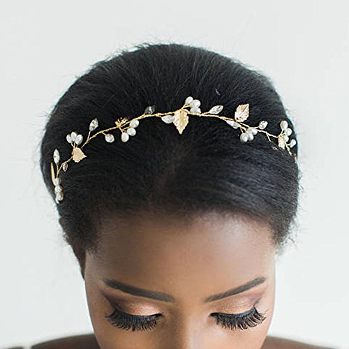 FXmimior Bridal Wedding Crystals Long Hair Vine Wedding Evening Party Headpiece (rose gold) - Exclusive Wedding Gown
