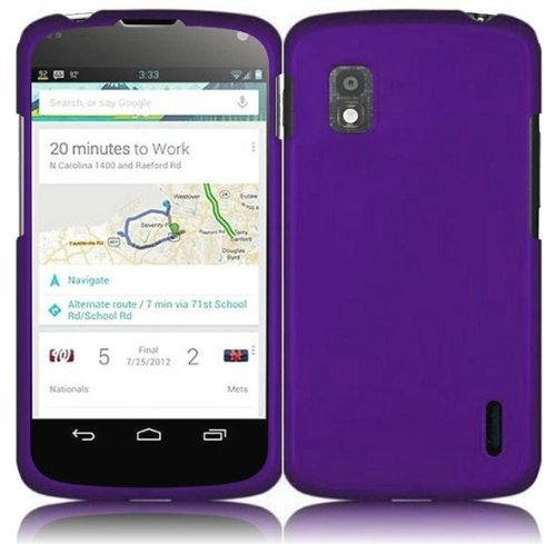Bundle Accessory for T-Mobil LG Nexus 4 E960 - Purple Hard Case Protector Cover + Lf Stylus Pen + Lf Screen Wiper