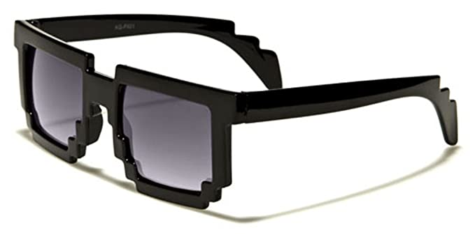 62458cd983 Amazon.com  Kids 8-Bit Pixel Gamer Nerd Sunglasses - Dark or Clear Lens   Clothing