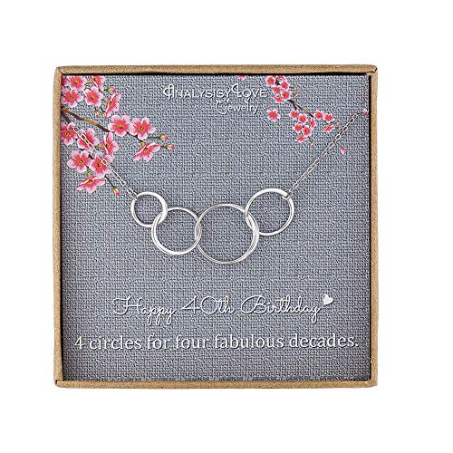 40th Birthday Gifts for Women - Sterling Silver Infinity 4 Circle 4 Decades Necklace, Mothers Day Jewelry