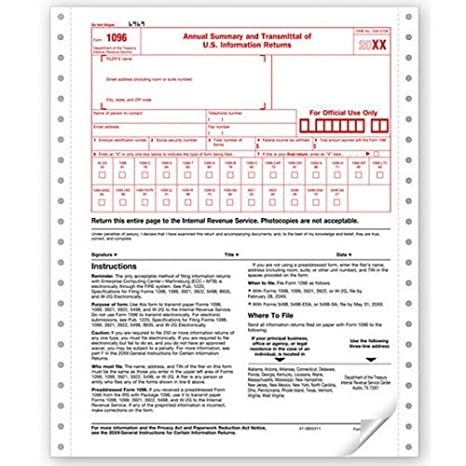 Amazon Continuous Tax Form 1096 Summary Transmittal Sheet