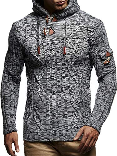 - Leif Nelson LN5400 Men's Knitted Pullover With Cozy Hood,Grey Black,US-S / EU-M