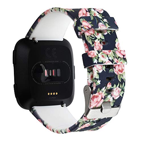 Flower Patterned Women Straps Silicone Material Smart Watch Band Replacement Compatible for Fitbit Versa (E)