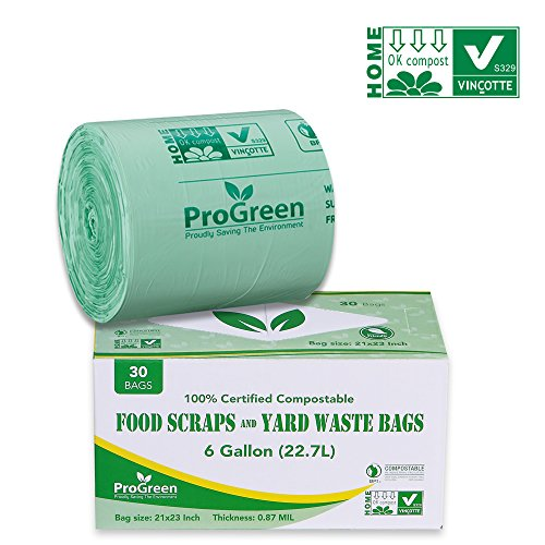 ProGreen 100% Compostable Bags 6 Gallon, Extra Thick 0.87 Mil, 30 Count, Small Kitchen Trash Bags, Food Scraps Yard Waste Bags, Biodegradable ASTM D6400 BPI And VINCOTTE Certified ()