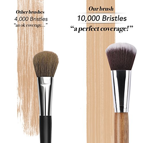 13 Bamboo Makeup Brushes Professional Set - Vegan & Cruelty Free - Foundation, Blending, Blush, Powder Kabuki Brushes
