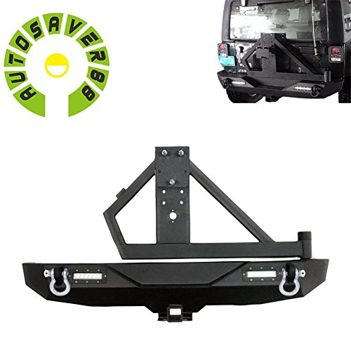 AUTOSAVER88-Rear-Bumper-D-Ring-2-Hitch-Receiver-2x-18W-LED-Light-Tire-Carrier-for-07-16-Jeep-Jk-Wrangler