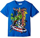 Official licensed Marvel product. Boys short sleeve t-shirt featuring Marvel avengers the incredible hulk, iron man, captain America, and thorn
