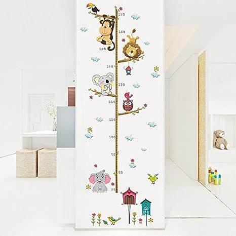 Pegatina pared medidor altura animales para dormitorios ...