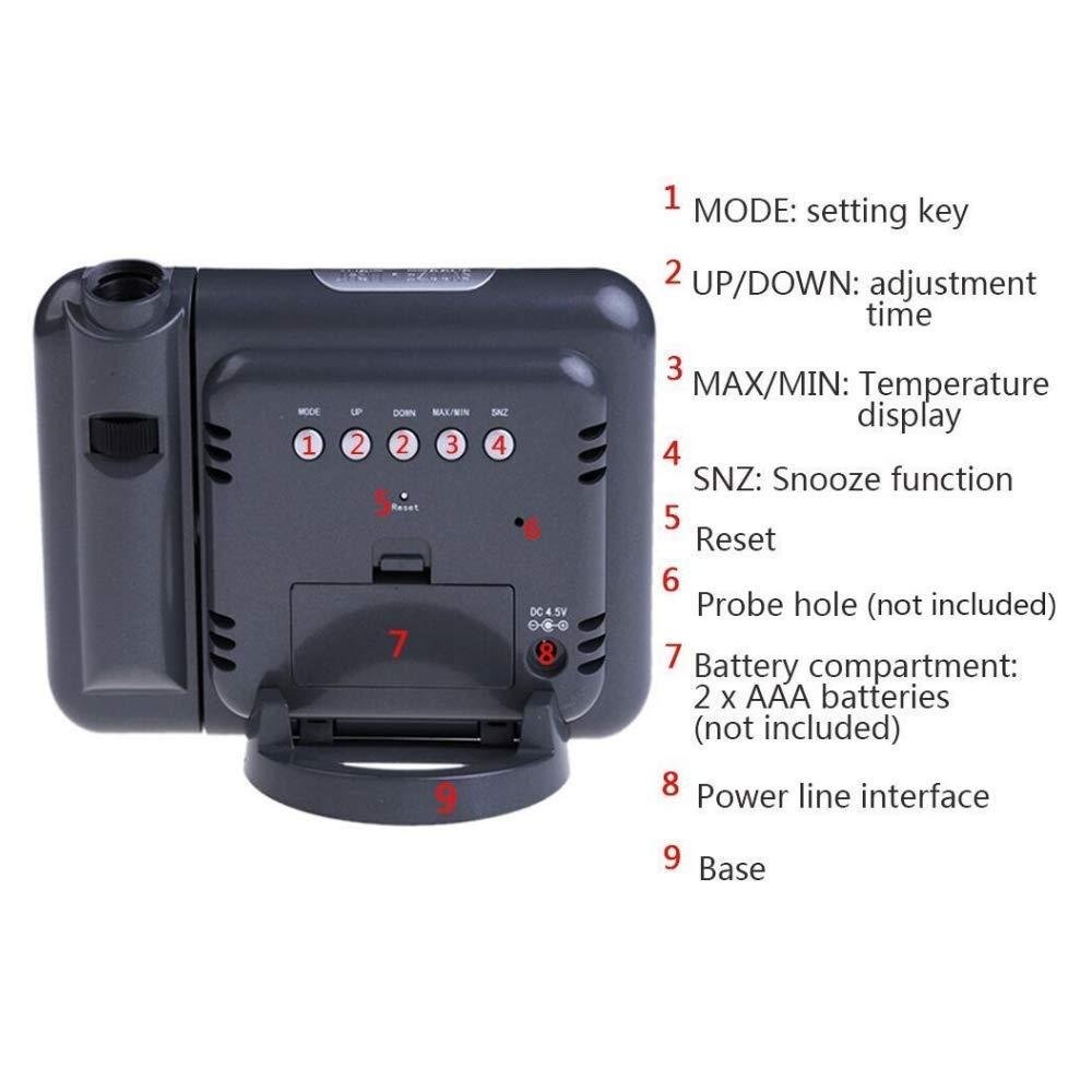 khool Despertador Digital con Estación Meteorológica y Proyección de la Hora: Amazon.es: Hogar