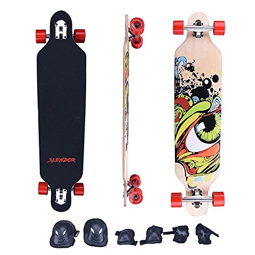Slendor Maple Drop Through Longboard Complete Skateboard, 41