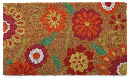 Price comparison product image Flower Mat 2 Doormat by Castle Mats,  Size 18 x 30 inches,  Non-Slip,  Durable,  Made Using Odor-Free Natural Fibers