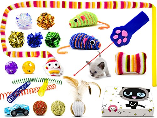Mog&Lenny Cat Toys 20 Pieces Including 1 Cat Funny Toy Teaser Wand Led Light Pet Toy Cat Toy Ball Springs toy Catnip Cotton Toy Feather Ball