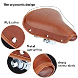 Vintage Bicycle Saddle Classic Comfort Brown Leather Bicycle Bike Cycling Saddle Seat Coffee Rivet Spring Bicycle Seat Saddle for Men Women