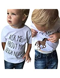 Staron Baby Clothes Boy Funny Ask Me About My Neigh Horse Inside Summer Tops T-Shirt