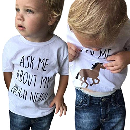 Horse Print Shirt - Dinlong Baby Girls Boys Clothes Short Sleeve Cartoon Horse/Cow Print Inside Letter Soft Tops Cute T Shirt Blouse (2-3 T, White)
